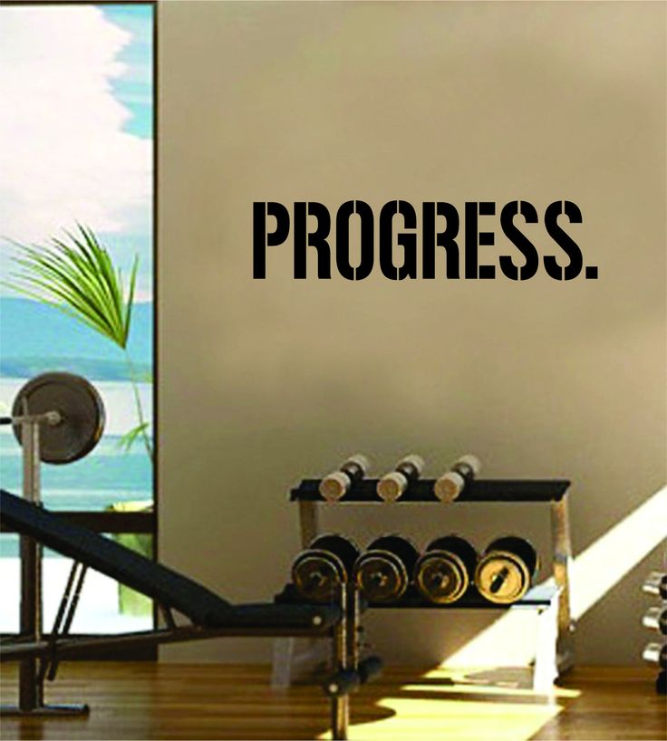 Progress Crossfit Gym Fitness Quote Weights Health Design Decal Sticker Wall Vinyl Art Decor Home