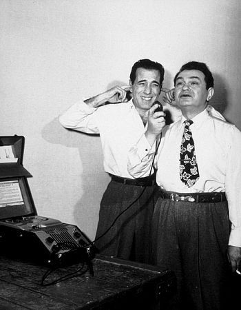 Humphrey Bogart and EGR having some fun on the set of Key Largo