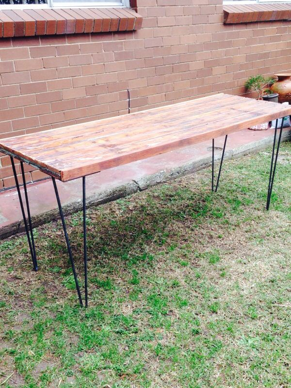 Industrial table. Upcycled timber door with custom hairpin legs.