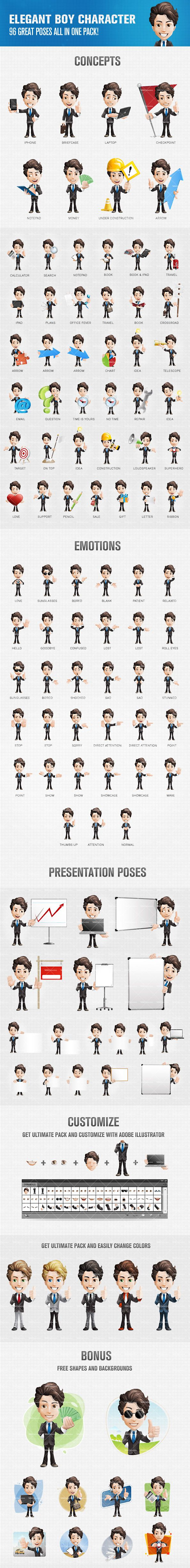 Elegant boy cartoon character designed in 96 poses and moods. With that impressive amount of poses we've got you covered in any situation. Continue reading →