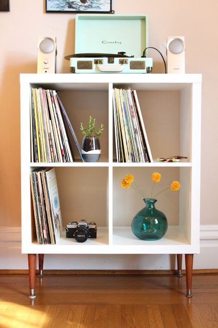 IKEA Kallax Shelf + MCM Legs = The most beautiful record display. Click through for additional photos!