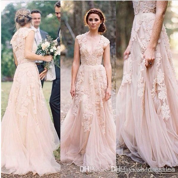 2016 Dusty Pink Boho Wedding Dresses A Line With Cap Sleeves V Neck Lace Lique Sheer Back Plus Size Modest Beach Bridal Gowns For
