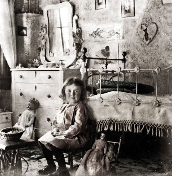 HOME: nursery interior c.1905. Somewhat uninviting