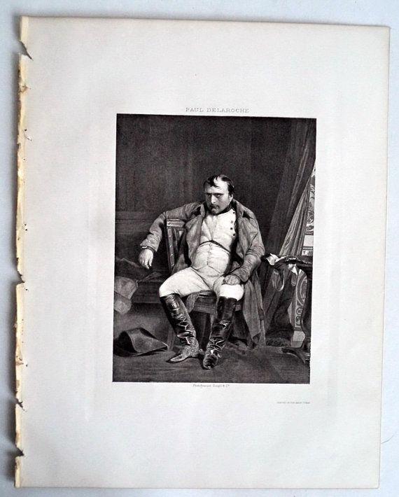1894 Antique Engraving Napoleon Abdication Original Antique Engraving, Delaroche, Napoleon Print, Military, Portrait, Wall Decor, art, 12x9