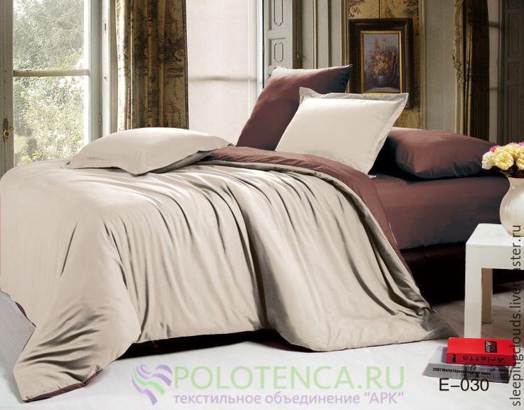 Купить Постельное бельё ручной работы из сатина комбинированное - коричневый, постельное белье, постельные принадлежности