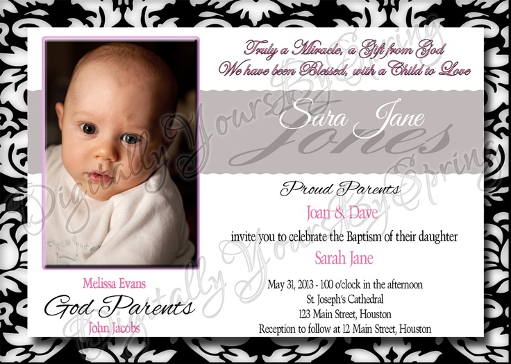 Customize this Babys Baptism Invitation with or without a picture and your info! If you would like to customize using different fonts or colors or add your personal pictures I can customize to your needs. Please visit my online store for more information. https://www.etsy.com/shop/DigitallyUrsbySpring or like me on Facebook! http://www.facebook.com/DigitallyYoursBySpring