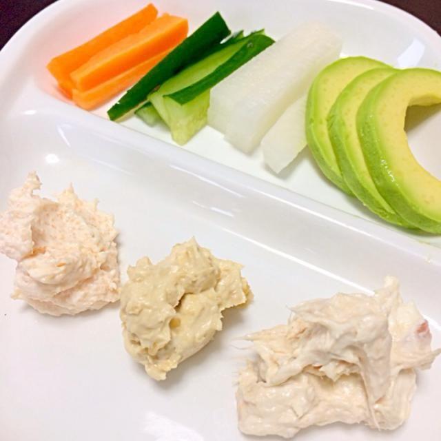 生野菜がおいしく食べられます。子供がたくさん食べてくれます。 - 6件のもぐもぐ - ディップ3種類 by maroope