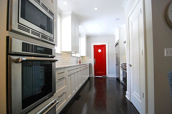 How To Decorate With Shades Of Red Interior Doors Of And Long Kitchen
