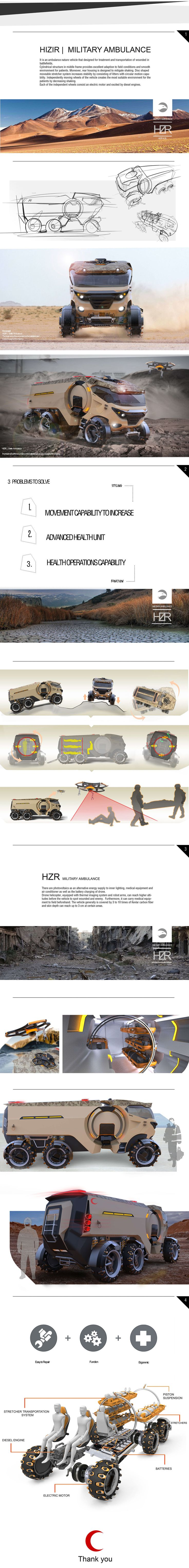 Military Ambulance Design - HZR  Designers: -Tamer YÜKSEK -Kürşat Kemal KUL -Mehmet MEHMETALİOĞLU