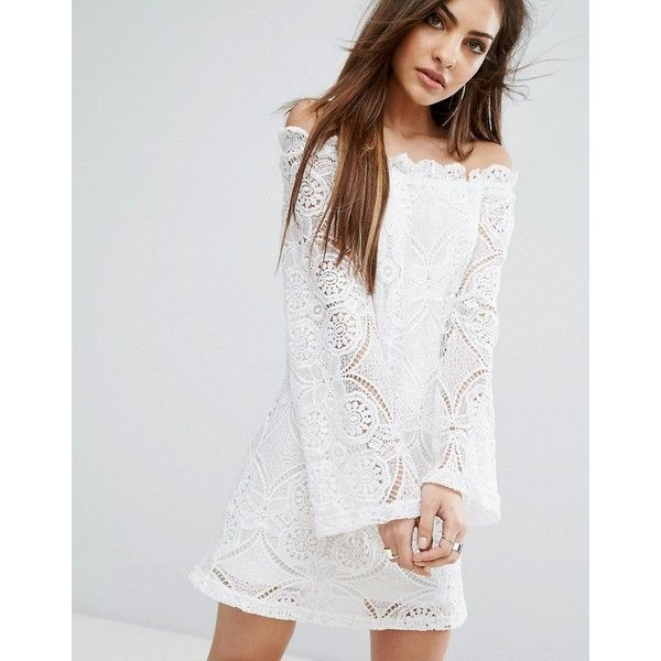 PrettyLittleThing Lace Bardot Swing Dress (£25) via Polyvore featuring dresses, white, night out dresses, tall dresses, white lace dress, lace party dresses and party dresses