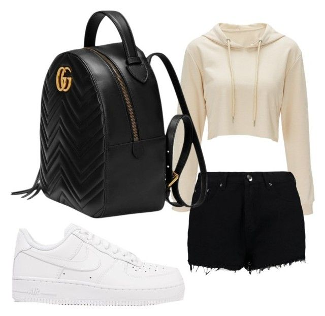 """slang"" by bleuxxgirl ❤ liked on Polyvore featuring Boohoo, NIKE and Gucci"