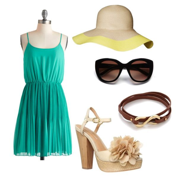 Darling Summer Dress #outfit ft. a pretty teal dress by ModCloth #fashion #summerdress