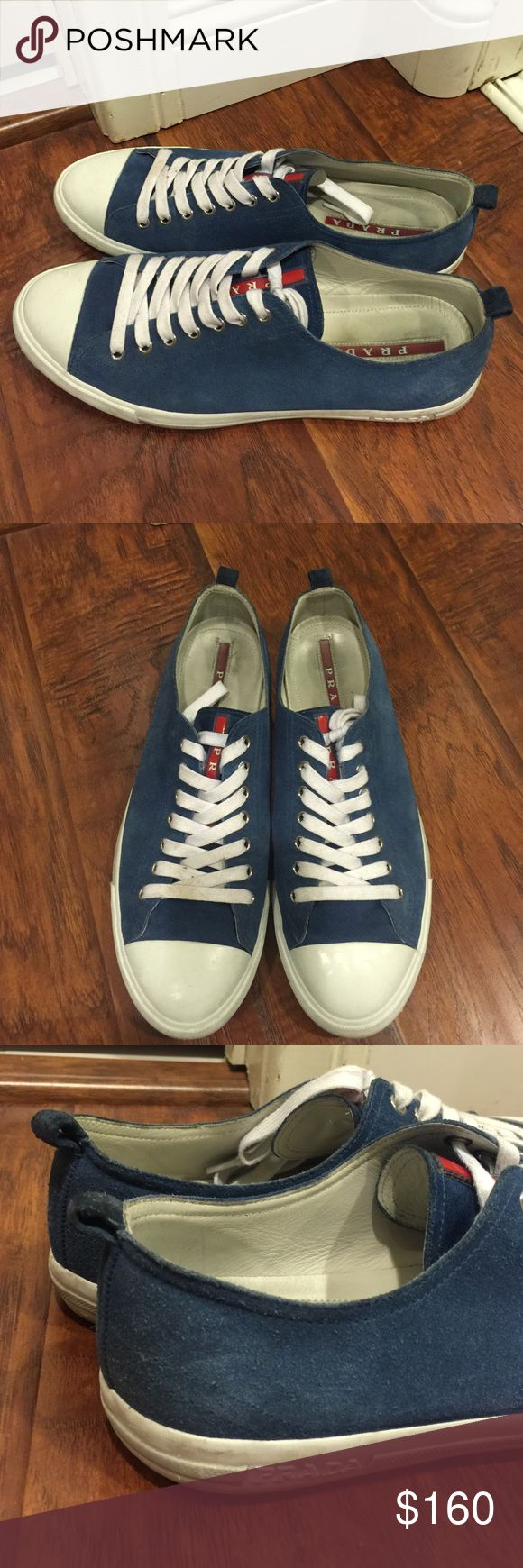 Men's Prada Sneakers Men's PRADA blue sneakers. Pre-loved, but still in good condition for the next buyer. Size 9 Prada Shoes Sneakers