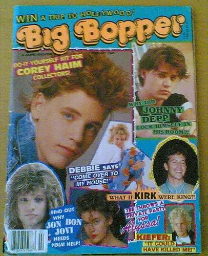 Eeeeks!  Look at his cover form the 80's ... Johnny Depp, Corey Haim, Kirk Cameron and Jon Bon Jovi!!!!  SqueeeeeeL!!!!!!!
