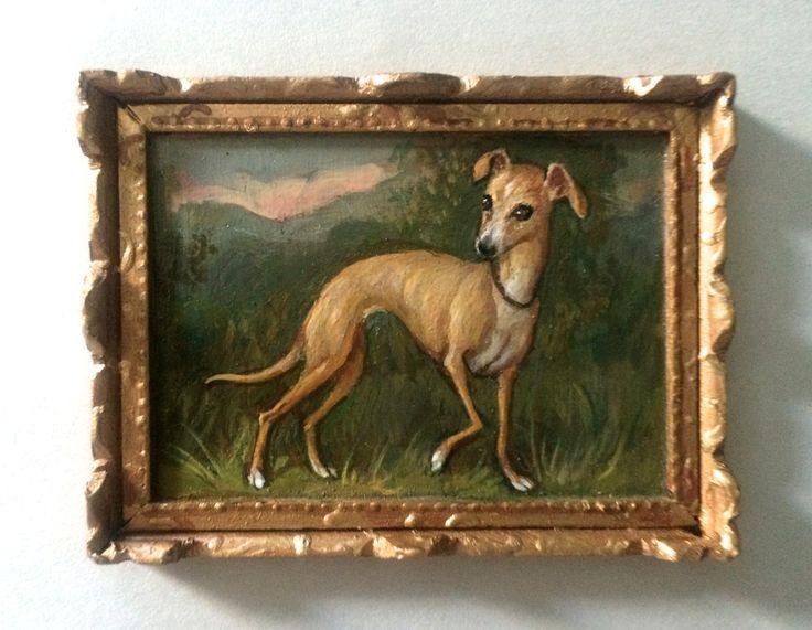 Miniature portrait of an Italian Greyhound