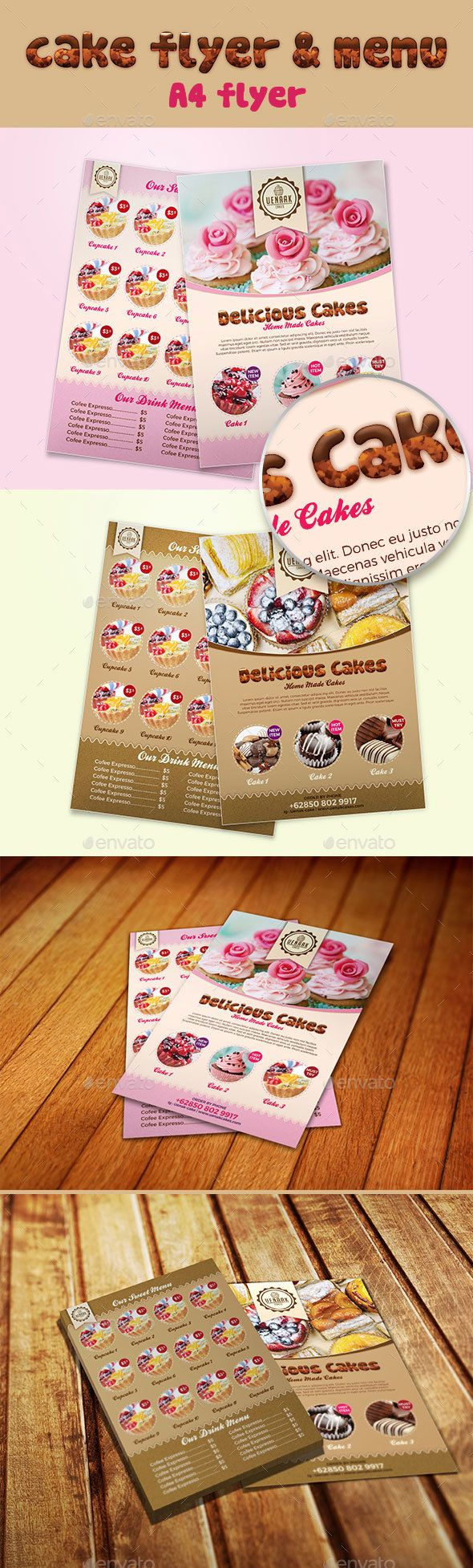 A4 Cake Flyer and Menu - Food Menus Print Templates Download here : https://graphicriver.net/item/a4-cake-flyer-and-menu/18071988?s_rank=140&ref=Al-fatih