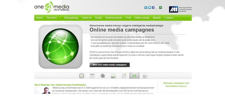 One 4 media biedt maximale service in sneltempo en staat voor no-nonsense. Fris groene kleur, oogt jong, duidelijk op witte achtergrond, steekt goed af