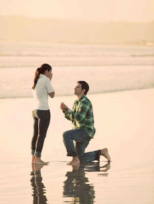 A proposal after a long walk on the beach. What could be more sweet? | http://weddingpartyapp.com/blog/2013/12/03/cool-way-announce-engagement-unique-creative/