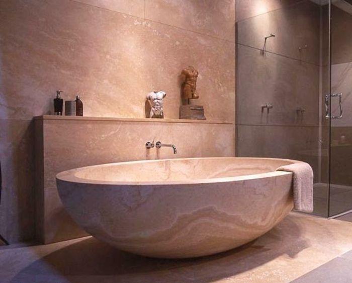 Badeinrichtung Japanischer Stil Minimalismus Marmor Glastüren
