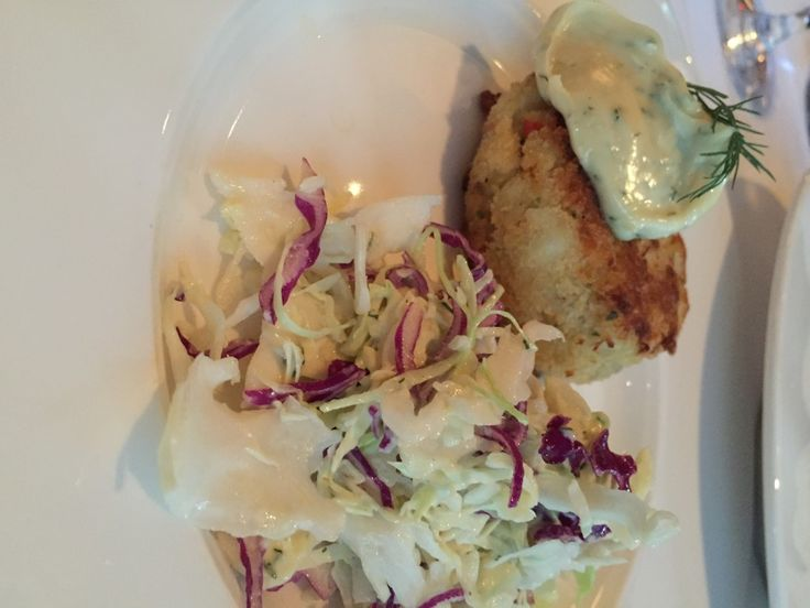 Dungeness crab cake with coleslaw at Hy's Steakhouse.