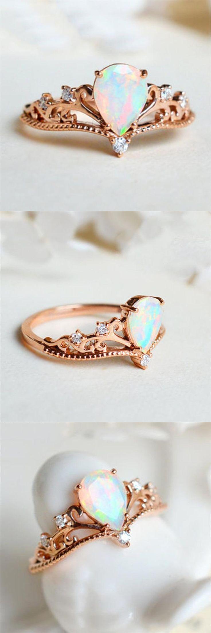 Anel elegante de opala de fogo    – Beautiful Rings