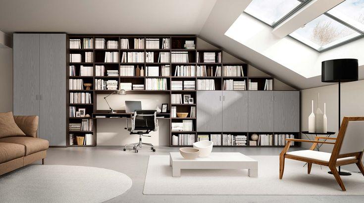 Libreria componibile a parete Systema-P. Mobile libreria a giorno flessibile personalizzabile con misure, accessori e colori per un arredamento su misura.