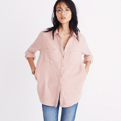 Our easy oversized button-down is back complete with hand-warming pockets. Made of irresistibly touchable flannel in a perfect pink, it's the ultimate stay-cozy-all-season shirt. <ul><li>True to size.</li><li>Cotton/rayon.</li><li>Machine wash.</li><li>Import.</li></ul>