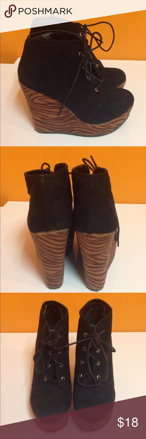 GUESS Black Zebra Heel Wedges,Size 8 Great condition.Size 8.5 inches high. G by Guess Shoes Wedges
