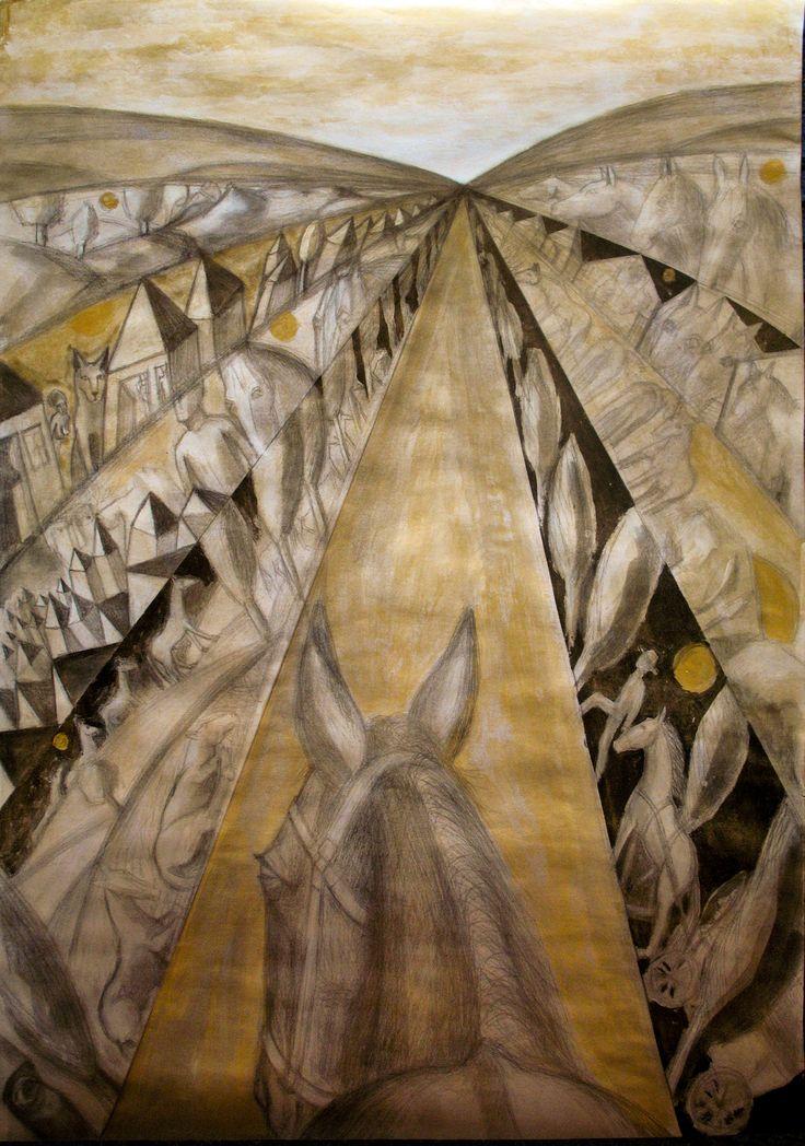 Drumurile unui cal.creion si culori acrilice, 50x70cm
