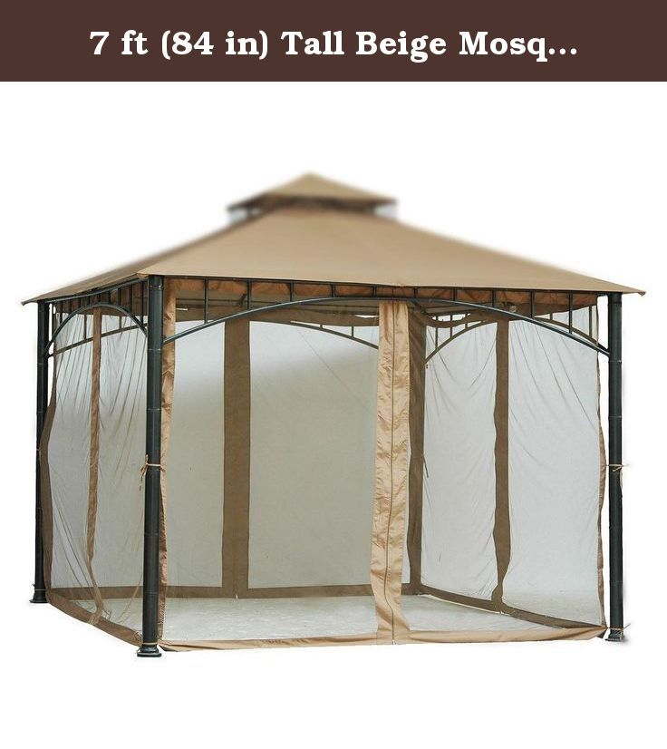 7 ft (84 in) Tall Beige Mosquito Net ONLY for 10x10 Gazebo w/ Velcro Straps Product SKU: GA01005. Invite your friends, not mosquitoes, to your backyard BBQ! This cream-trimmed mosquito net is designed to fit a standard 10' x 10' gazebo. It has Velcro straps that allow you to easily connect the netting to the top rail of a gazebo, making installation a snap. Designed to go with any 10' x 10' gazebo, its high-quality material and durable construction will last for years to come. Net is in...