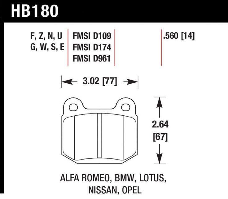 Hawk 2004-2014 Subaru Impreza WRX STI/ 2006-2009 Nissan 350Z/ 2003-2004 Infiniti G35 DTC-60 Race Rear Brake Pads (Brembo Brakes Only)