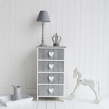 White and grey Heart Cottage drawers. Shabby chic, Scandinavian, New England and French living room furniture from The White Lighthouse