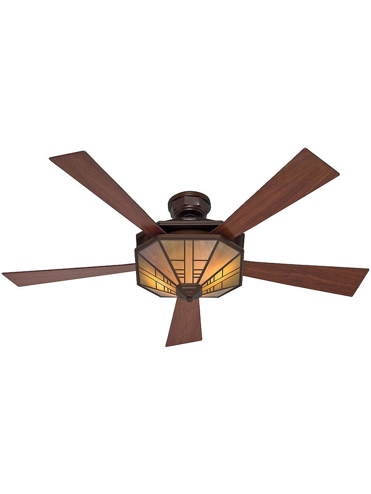 """54"""" Mission Style Ceiling Fan In Bronze Patina with Cherry/Walnut Blades"""