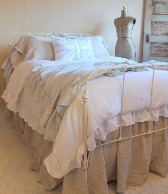 The French Prairie Collection Duvet Cover King Shabby Chic Ruffles Natural linen dust ruffle... pretty
