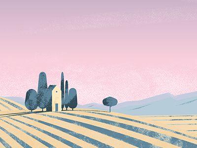 Landscape. Illustration. by Olga #Design Popular #Dribbble #shots