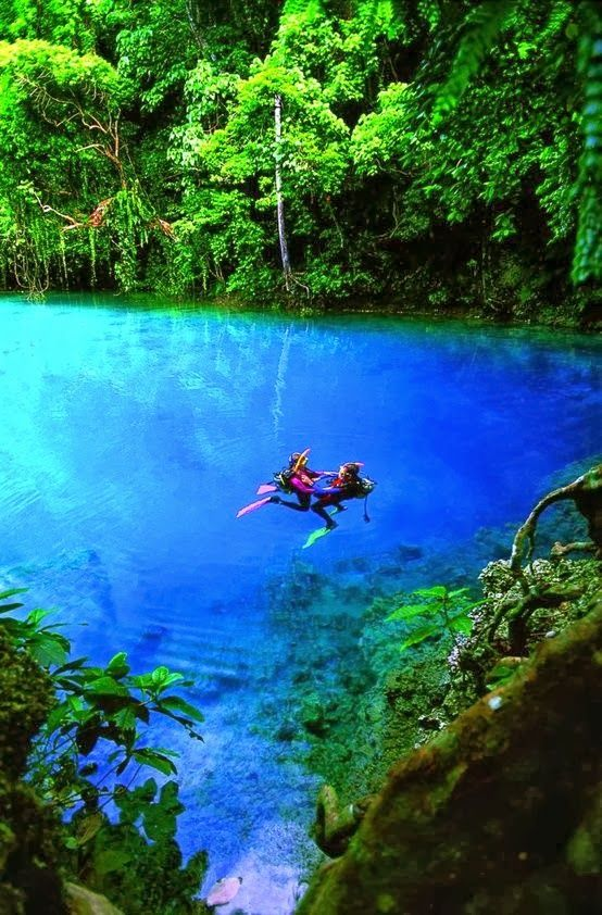 Blue Hole, Espiritu Santo Island, Vanuatu. Located inland from the coast, natural springs bubble up from the ground to form magical blue holes that have to be seen to be believed. The blue holes are up to 18m deep and can form rivers that run to the ocean. The Nanda Blue Hole is one of the most spectacular of these