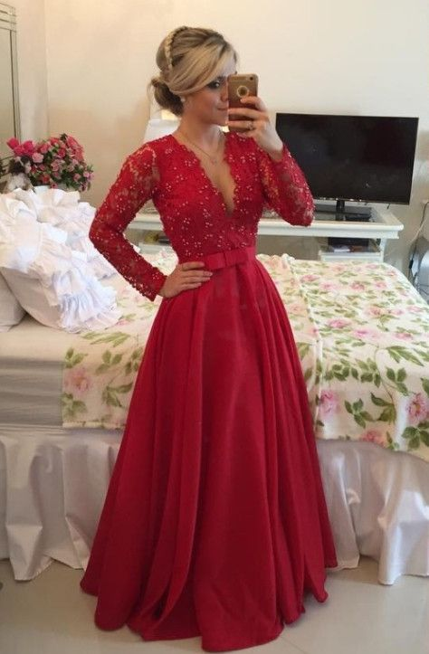 Prom Dress Deep V Neckline with Sleeves Evening Party Gown pst0541