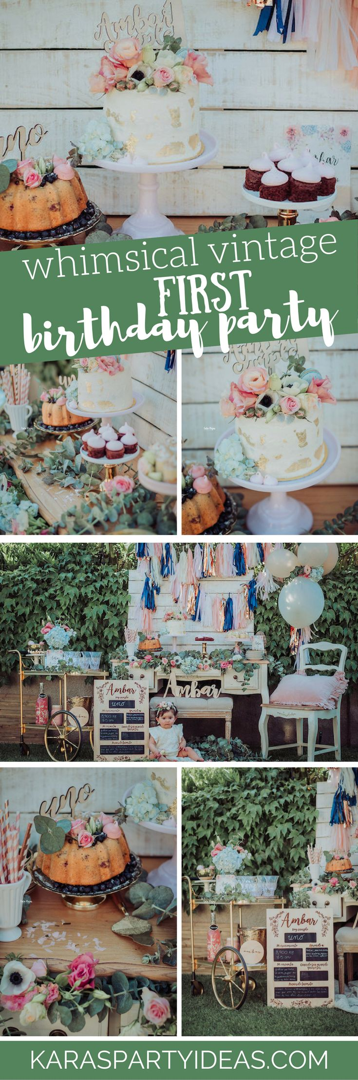 Whimsical Vintage 1st Birthday Party via Kara's Party Ideas -  KarasPartyIdeas.com