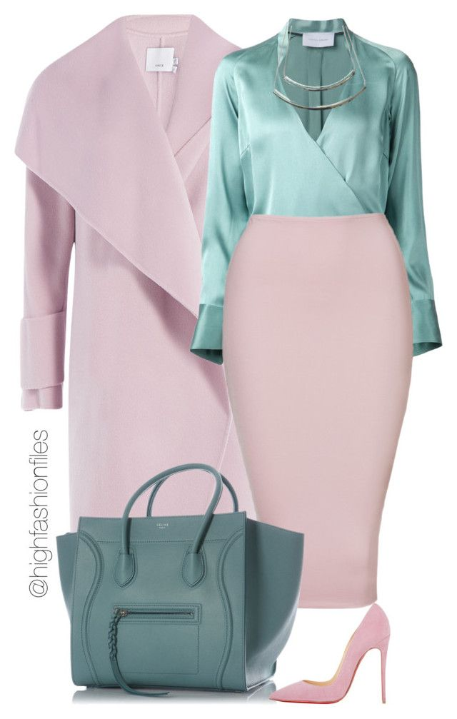 """Aqua, Pink"" by highfashionfiles ❤ liked on Polyvore featuring Vince, STRATEAS.CARLUCCI, CÉLINE and Christian Louboutin"