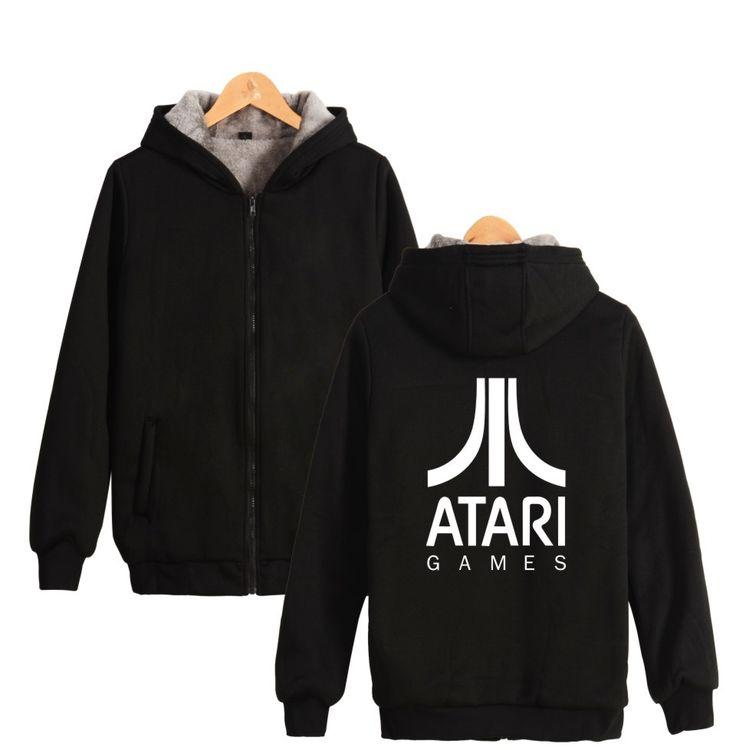 ATARI Logo of Atari Printed Thick Hoodies Sweatshirts With Zipper Winter Warm Thickened Zip-Up Plus Size Arcade Lover #Affiliate