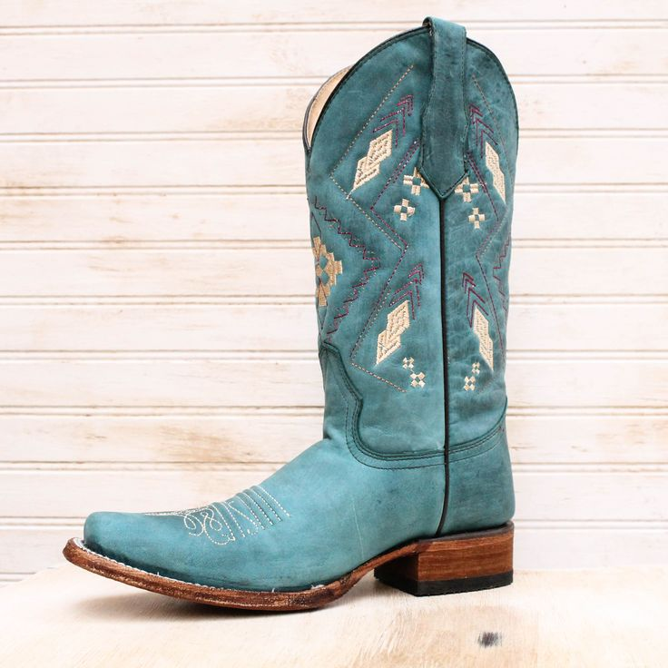 Turquoise Aztec Embroidered Square Toe Boot
