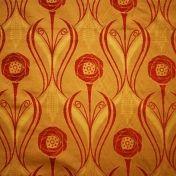 Charles Rennie Mackintosh Fabric.  burnt orange curtain and upholstery curtain and upholstery fabric - Art Nouveau Chenille Roses Blaze