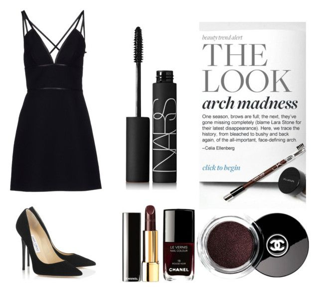 """""""Arch black"""" by pieceofcakehj on Polyvore featuring Chanel, NARS Cosmetics, Prada and Jimmy Choo"""