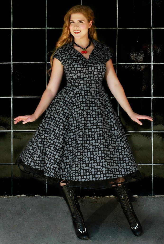 A Retro-inspired Pinup dress with classic details (full skirt, pockets, lapel collar) available in Reg & Plus Sizes (M-3X) Modern Vintage Style. Made in Canada. Paige Dress - Paintball