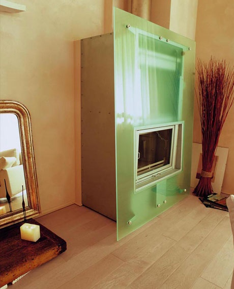 glass fireplace!