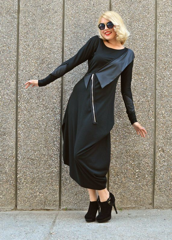 ON SALE Black Asymmetrical Dress / Black Maxi Dress / by Teyxo