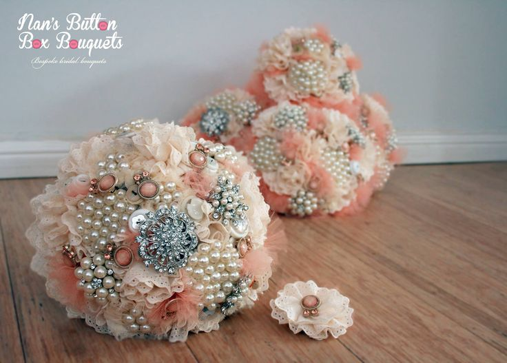 Vintage style brooch bouquet by Nan's Button Box Bouquets. Love the handmade flowers and apricot colours. www.nansbuttonboxbouquets.com.au