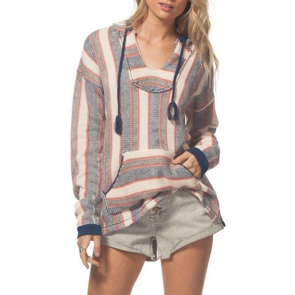 Women's Rip Curl Beachcomber Hoodie ($70) ❤ liked on Polyvore featuring tops, hoodies, navy, long slip, brown pullover hoodie, brown hoodie, striped pullover hoodie and long hoodie