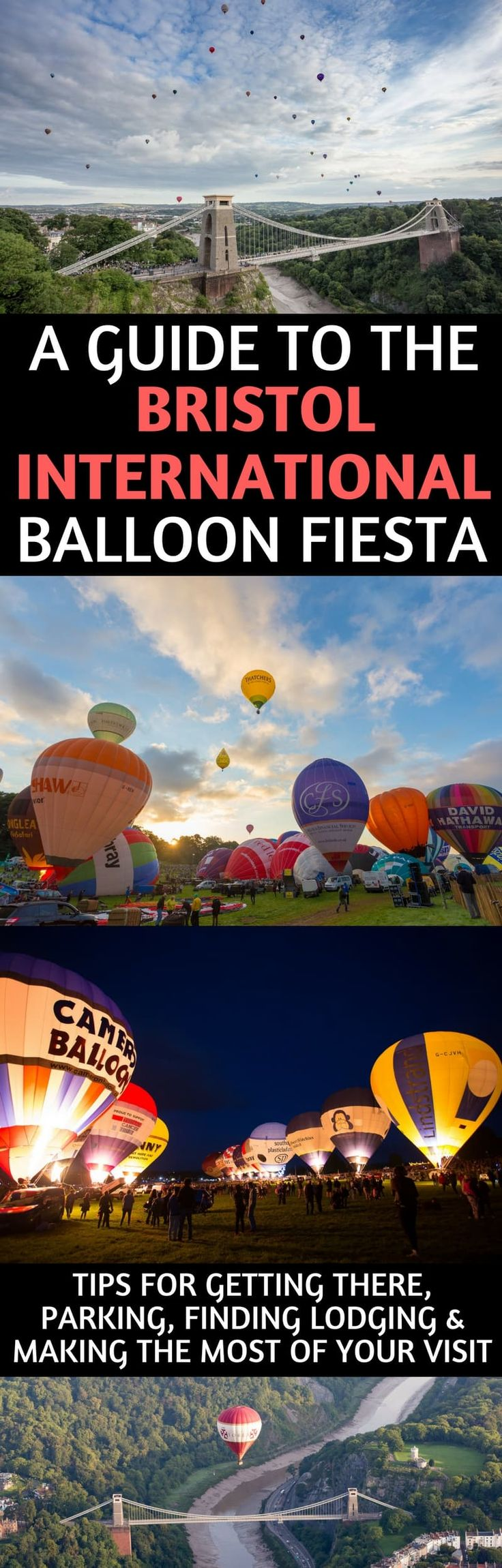 A guide to attending the Bristol International Balloon Fiesta held each August in Bristol, England, UK. We provide tips for getting there, parking, what to see and do, best hot air balloon viewing spots, finding lodging, and making the most of your time at the Bristol Balloon Fiesta. #Bristol #BristolBalloonFiesta #BalloonFiesta #England #UKfestivals