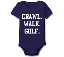 CRAWL WALK GOLF funny newborn maternity shirt onesie boy new INFANT BABY E1621